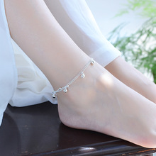 TJP Charm Bells Double Layers Chain 925 Silver Bracelets For Women Party Bijou Top Quality Female Anklets Jewelry Gift