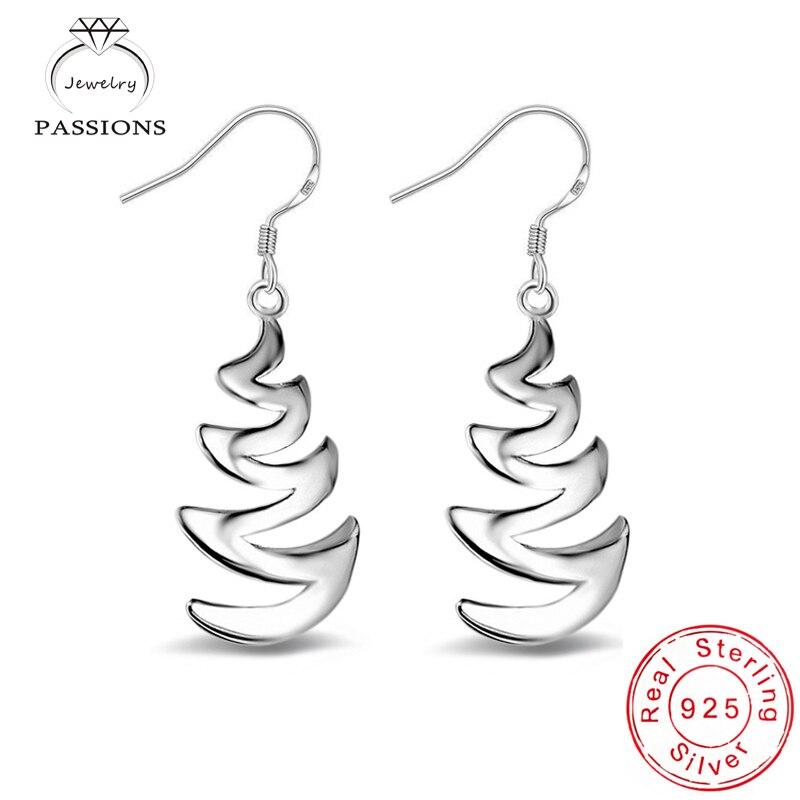 Hot výprodej módní elegantní křivky design náušnice 925 mincovní stříbro vysoce kvalitní visící náušnice ženy náušnice šperky dárek