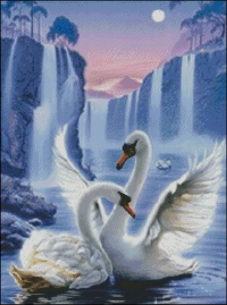 Swans By Moonlight >> Free Delivery Top Quality Lovely Beautiful Counted Cross Stitch Kit