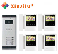 XINSILUTop Quality Multi Apartment 4 flats 4.3video door phone for 4 apartments,HD color wired intercom system/audio door phone