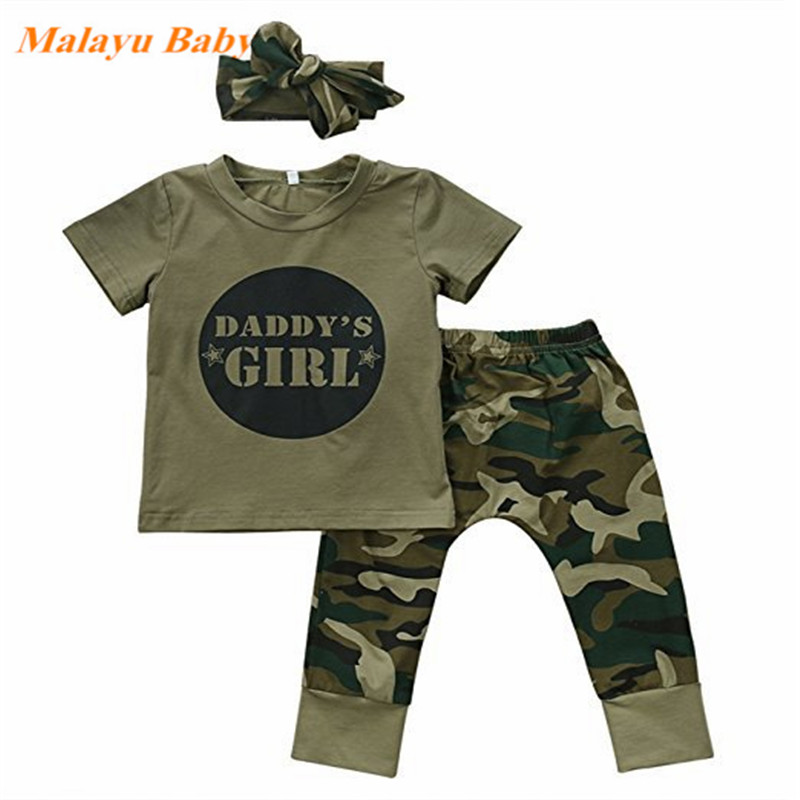 2018New Boys Girls baby short sleeve letter print pullover round neck T-shirts camouflage Pants Bow Headband 2 or 3pc cotton Set