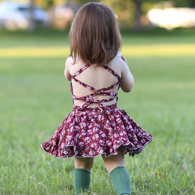 Summer dress for baby 2018 flower bay girls princess dress floral infant clothes cotton toddler bapteme fille child party dress