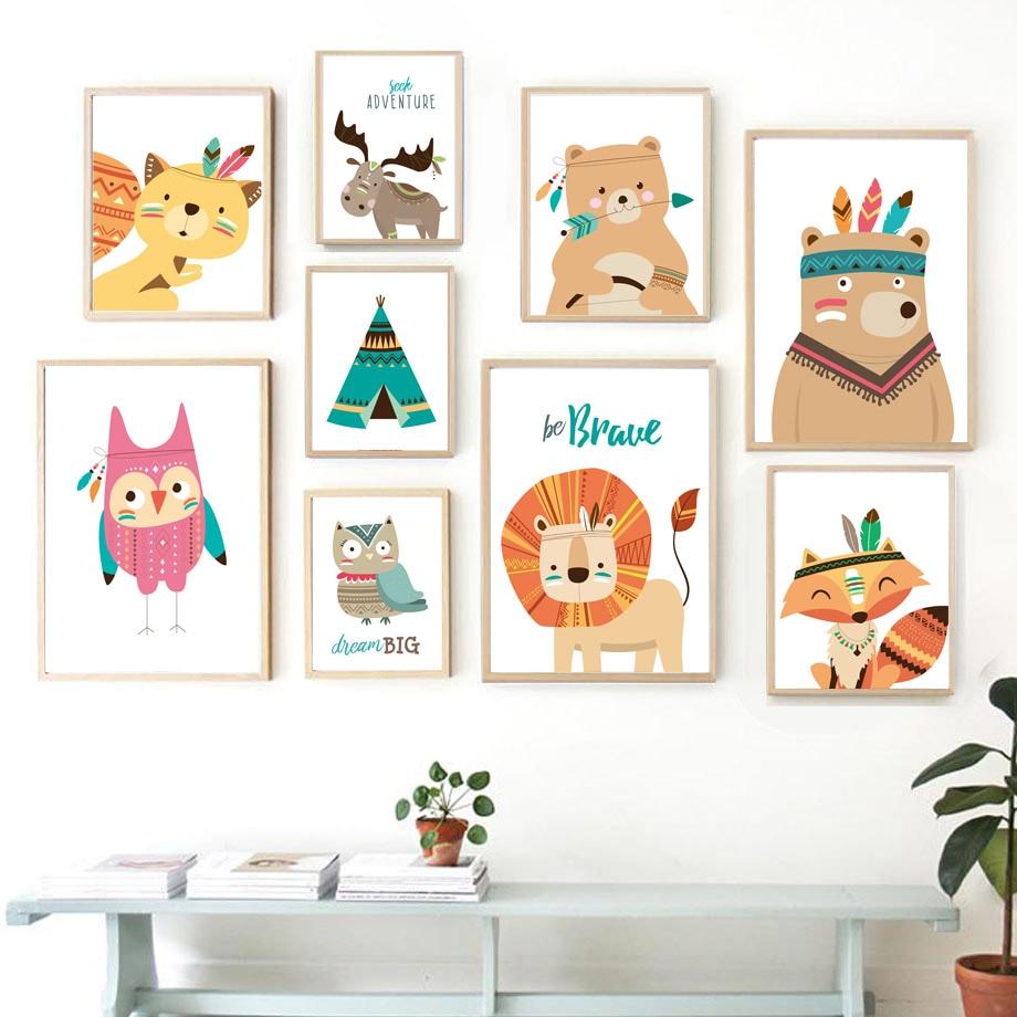 COLORFULBOY современные животные Kawaii детская мечта, цитаты, Картина на холсте для детской комнаты, детской, Настенная картина, постер, Декор без р...