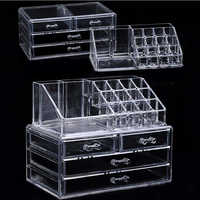 Acrylic transparent Makeup Organizer Storage Boxes Make Cosmetics Brush Organizer home Drawers Cotton Swabs Stick Storage case
