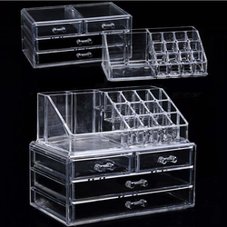 Akrilik şeffaf makyaj organizatör saklama kutuları yapmak kozmetik fırça organizatör ev çekmeceli pamuklu çubukla sopa saklama kutusu
