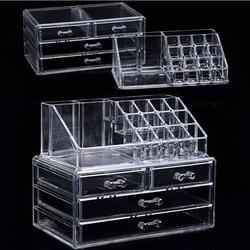 Transparan Acrylic Makeup Organizer Penyimpanan Kotak Membuat Kosmetik Sikat Organizer Rumah Laci Kapas Tongkat Penyimpanan Case