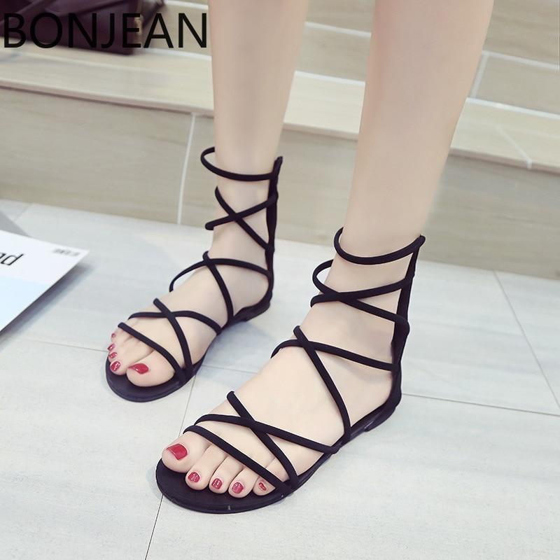 BONGEAN Summer black flat Women Sandals Open Toe Gladiator Sandals Women zipper Up Women Platform Sandals Casual Shoes 1
