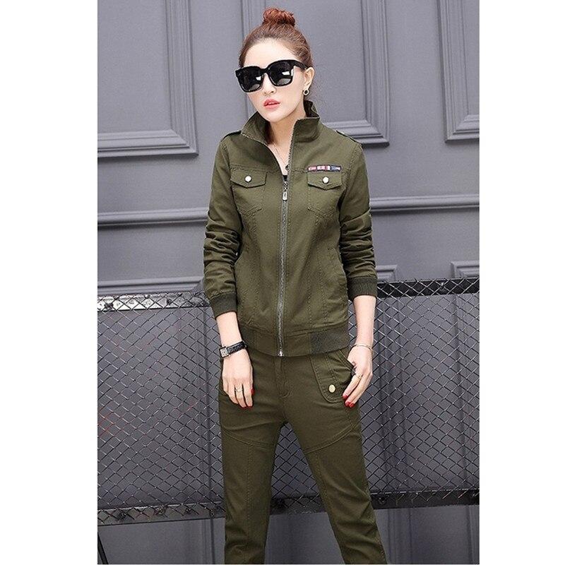 YAGENZ Frühling Herbst Frauen Kleidung Set Student Camouflage 3 stücke Set langarm Tops + T Shirt + Hosen Plus größe Armee Grün 569 - 2