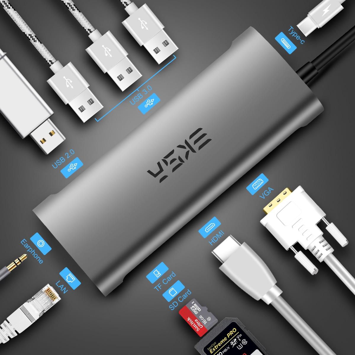 EKSA USB type C Hub vers HDMI/RJ45 Gigabit Ethernet/VGA/lecteur de carte/Thunderbolt 3 adaptateur pour Macbook Huawei P20 Pro USB 3.0 HUB