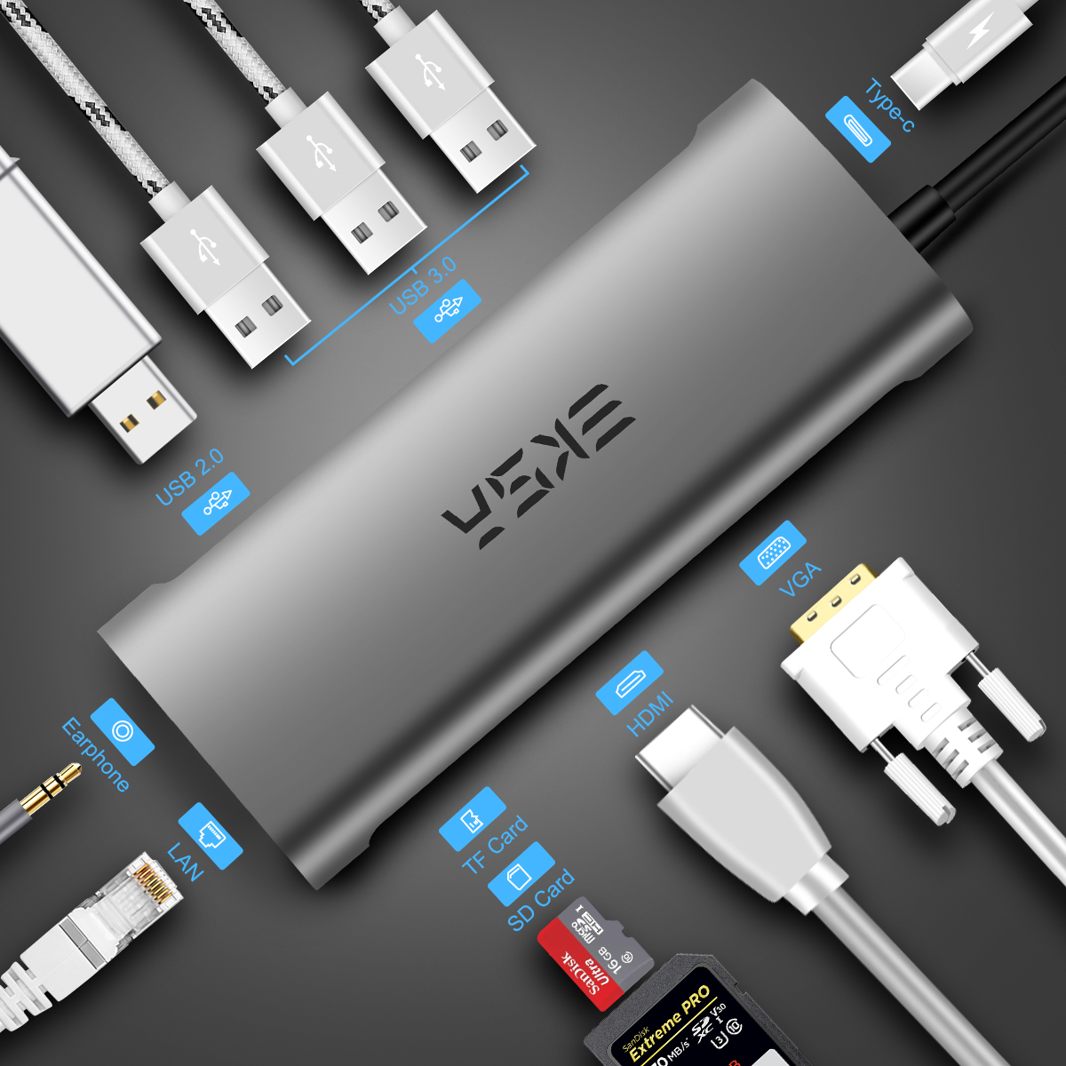 Moyeu USB EKSA moyeu C vers USB 3.0 2.0 adaptateur RJ45 VGA HDMI Dock pour MacBook Pro Huawei Samsung USB-C Type C 3.0 moyeu de USB C séparateur