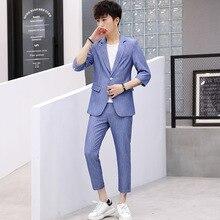Plus Size England Style Men Two Piece Set Stripe Dress Suits Wedding For Tuxedo Gentle Modern Blazer summer