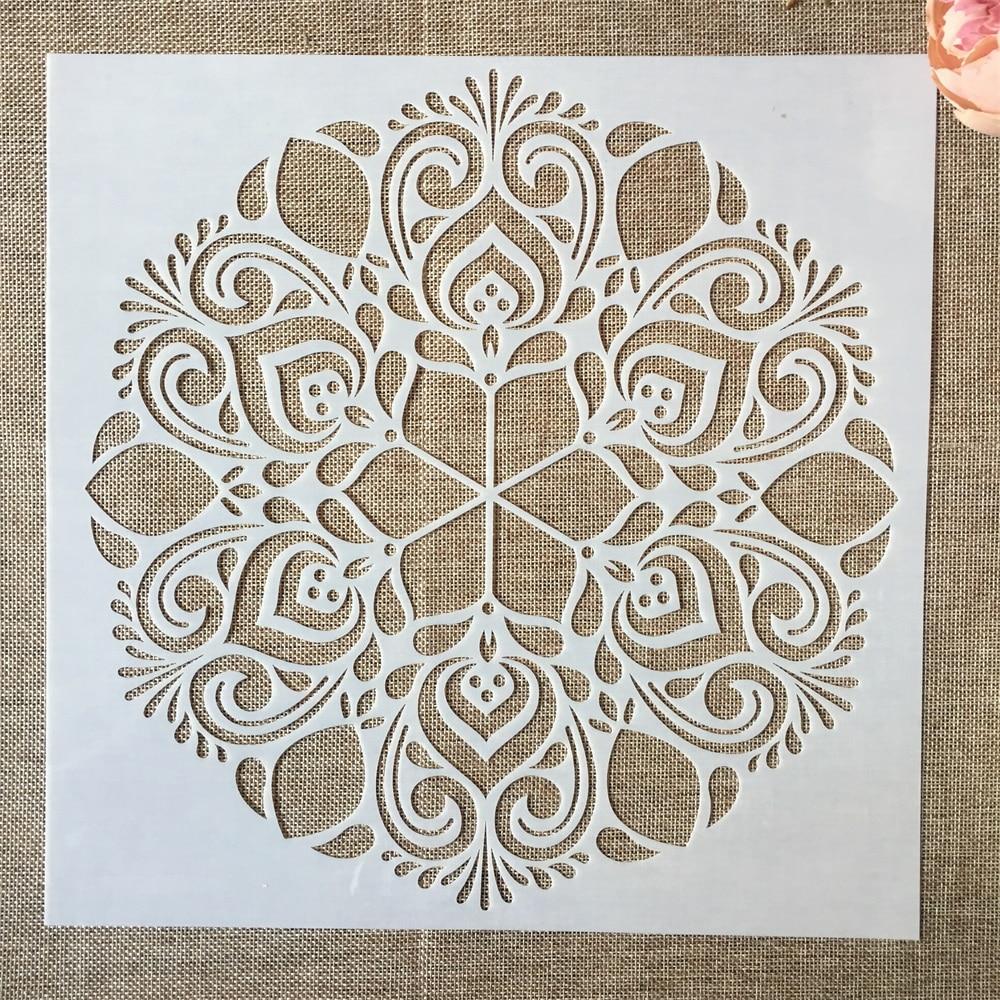 1 pçs 30*30cm grande flor redonda mandala diy estênceis estênceis pintura scrapbook colorir gravação álbum modelo decorativo