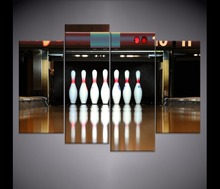 Skittles Bowling Reflection Sport Painting 4 Piece Style Picture Modern Canvas Print Type Home Decorative Wall Artwork Poster