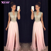 Sliver Rhinestones Long Prom Dresses Party Evening Gown Dress Blush Chiffon Back Zipper Vestido De Festa