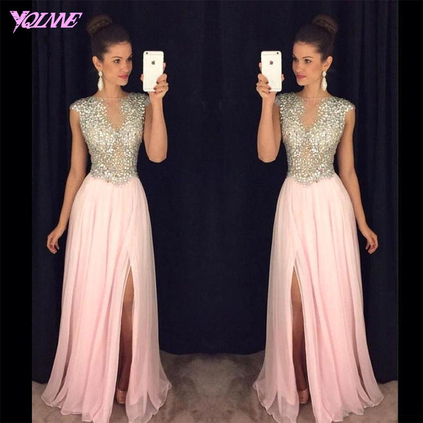 YQLNNE 2018 Blush   Prom     Dresses   Long Chiffon Crystals Slit Evening Gown Party   Dress   Vestido De Festa
