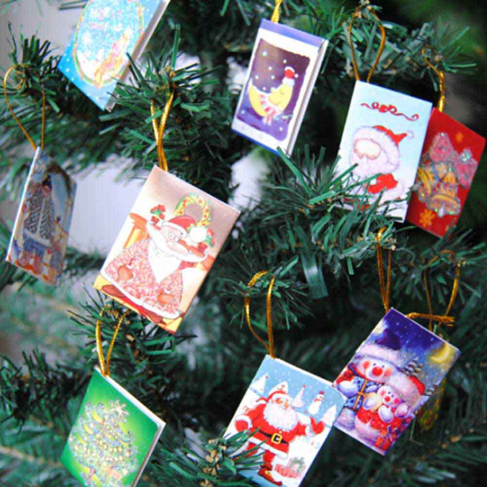 12 Pcs/Set Color Random Merry Christmas Wish Card Greeting Card Sticker Ornament Pendant Christmas Tree Ornament Novelty Gifts