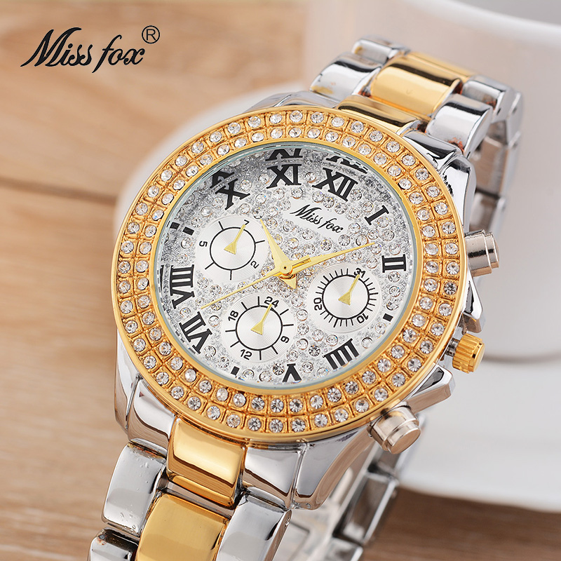 Miss Fox 39mm Women Dress Watch Rhinestone Decorated Stainless Steel Timepiece Women Silver Dial Imported-china Girls Gold Watch chic women s rhinestone decorated floral ring