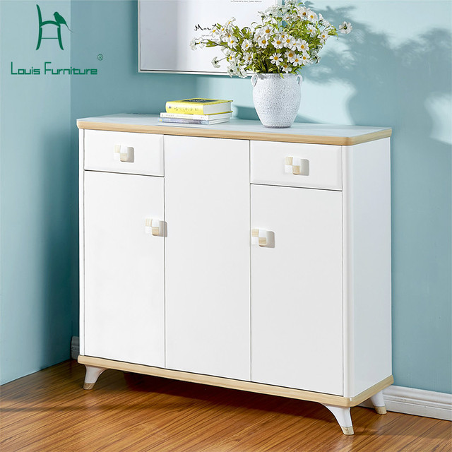 Delicieux Louis Fashion Real Wood Shoe Cabinet To Open The Door Of Large Capacity  White Paint Balcony Storage Cabinet