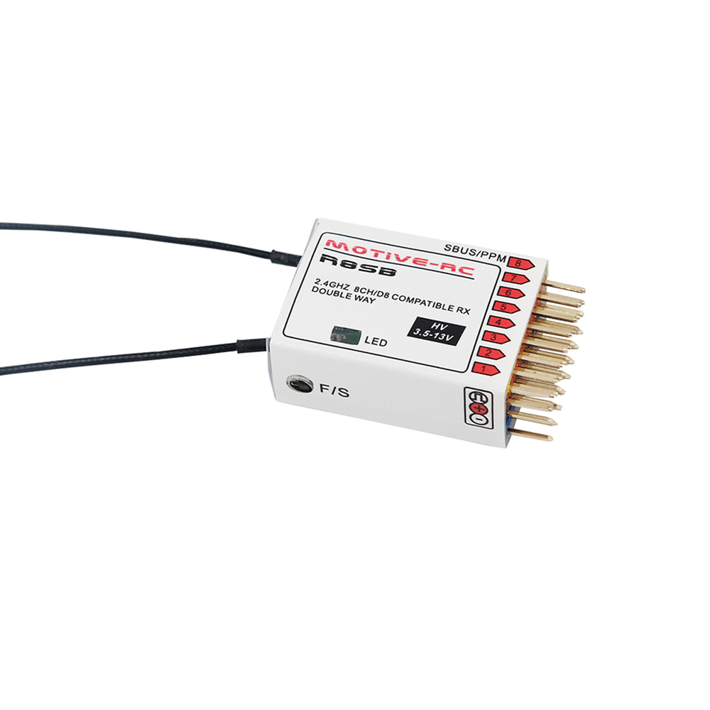 MOTIVE-RC R8SB 2.4G 9CH Frsky D8 Compatible Telemetry Receiver for X9D Plus, iRange X , Jumper 2 4g 8ch d8 frsky compatible receiver with pwm ppm sbus output compatible with frsky x9d plus djt dft dht
