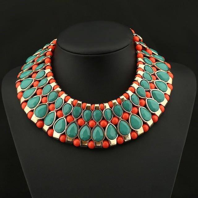 2015 súper ventas de bohemia granos de la turquesa del Gypsy étnico Vintage gargantilla Collares Collares y colgantes collar mujeres