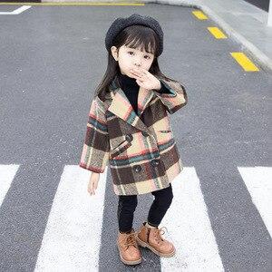Image 3 - Anlencool 2020 New Spring Girls coat 1 5 years old female baby plaid wool coat kids fur coat  baby girl coat lattice clothing