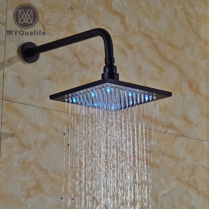 New Oil Rubbed Bronze Rainfall LED Light Rain Shower Head 8 Brass Rain Showerhead w/ Wall Mount Shower Arm led 10 rainfall oil rubbed bronze shower head round top sprayer w wall mount shower arm