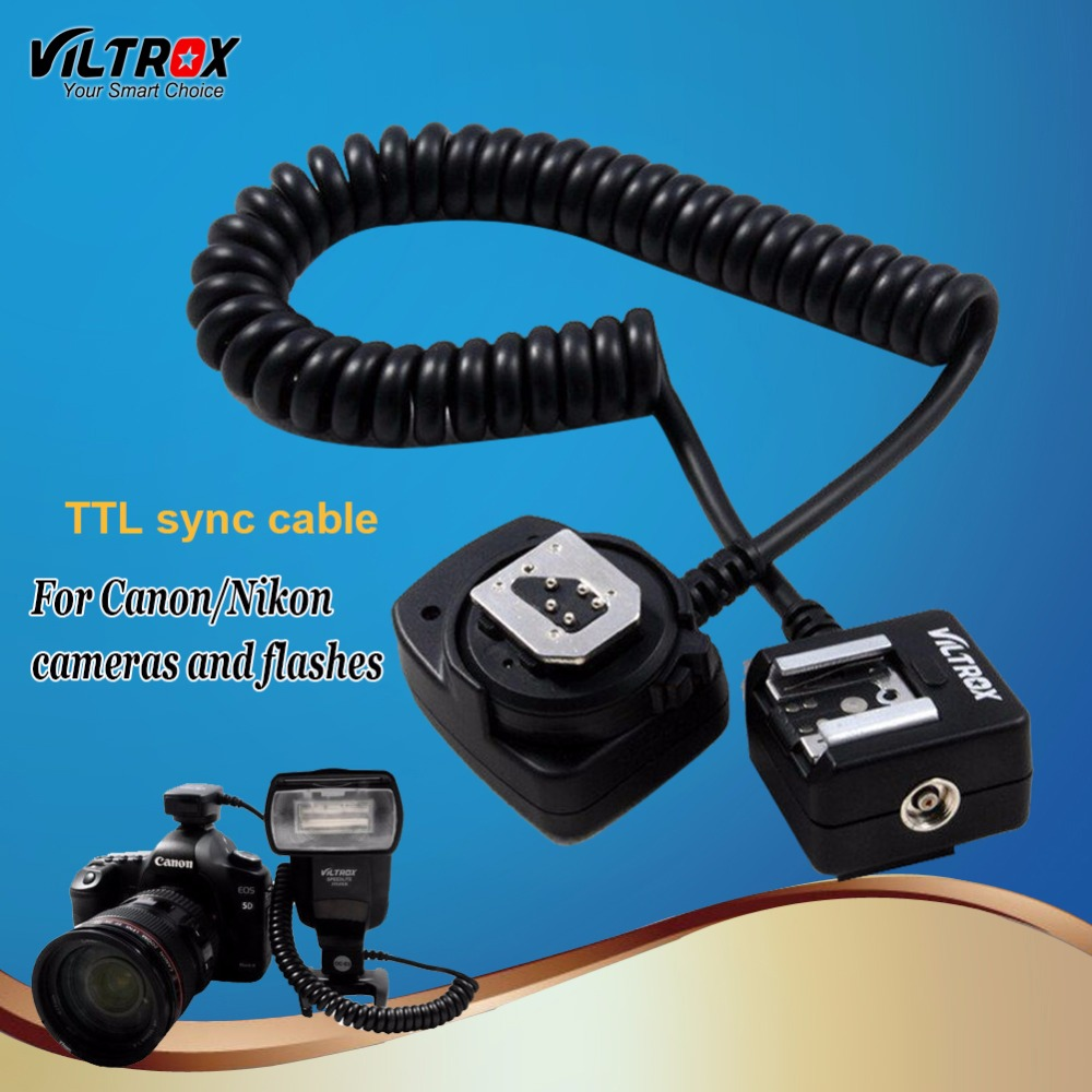 Viltrox OC-E3 SC-29 TTL Off-Camera Flash Hot Shoe Sync Cord Cable for Canon 1300D 700D 5D Mark IV 580EX Nikon D3300 D5200 D810 2m i ttl flash off camera cord cable for nikon dslr
