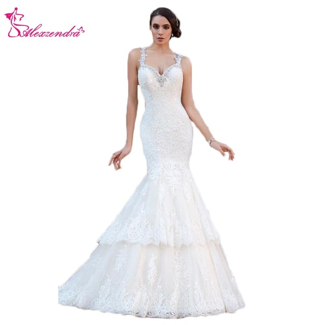 Us 152 1 10 Off Alexzendra Mermaid Lace Tiered Wedding Dresses For Bride Beaded Crossed Back Sweetheart Bride Dresses Plus Size In Wedding Dresses