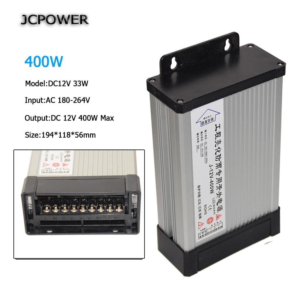 LED Outdoor Rainproof Power Supply DC12V 33A 400W AC220V LED Driver adapter Lighting Transformers voltage transformer ac 85v 265v to 20 38v 600ma power supply driver adapter for led light lamp