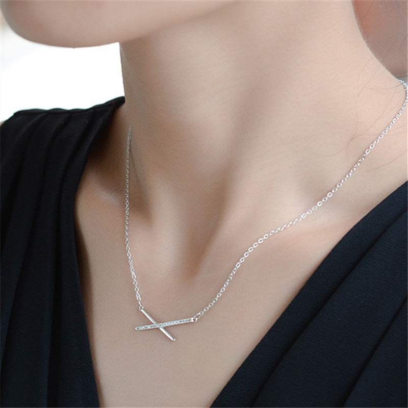 Collares de plata de ley 925 para mujer, collares y colgantes geométricos, gargantilla de joyería de boda declaración DZ773 Collares    - AliExpress