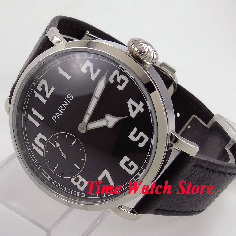 46mm parnis black dial Arabic numbers luminous deployant clasp 6497 hand winding movement mens watch 274 цена и фото