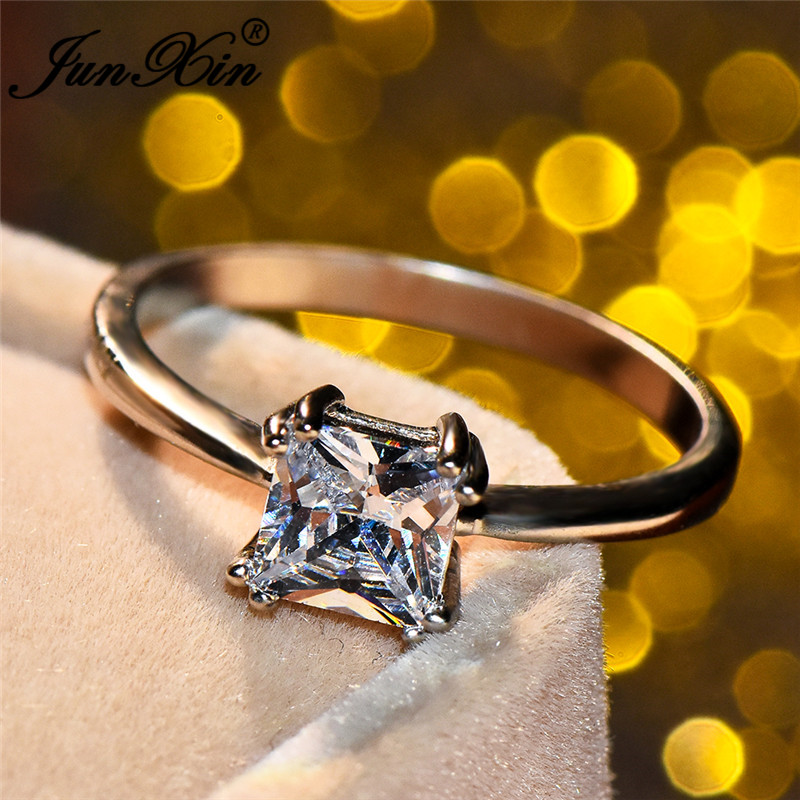 JUNXIN Princess Cut Zircon Ring Simple Solitaire Ring White Gold Filled Wedding Engagement Rings For Women Minimalist Jewelry