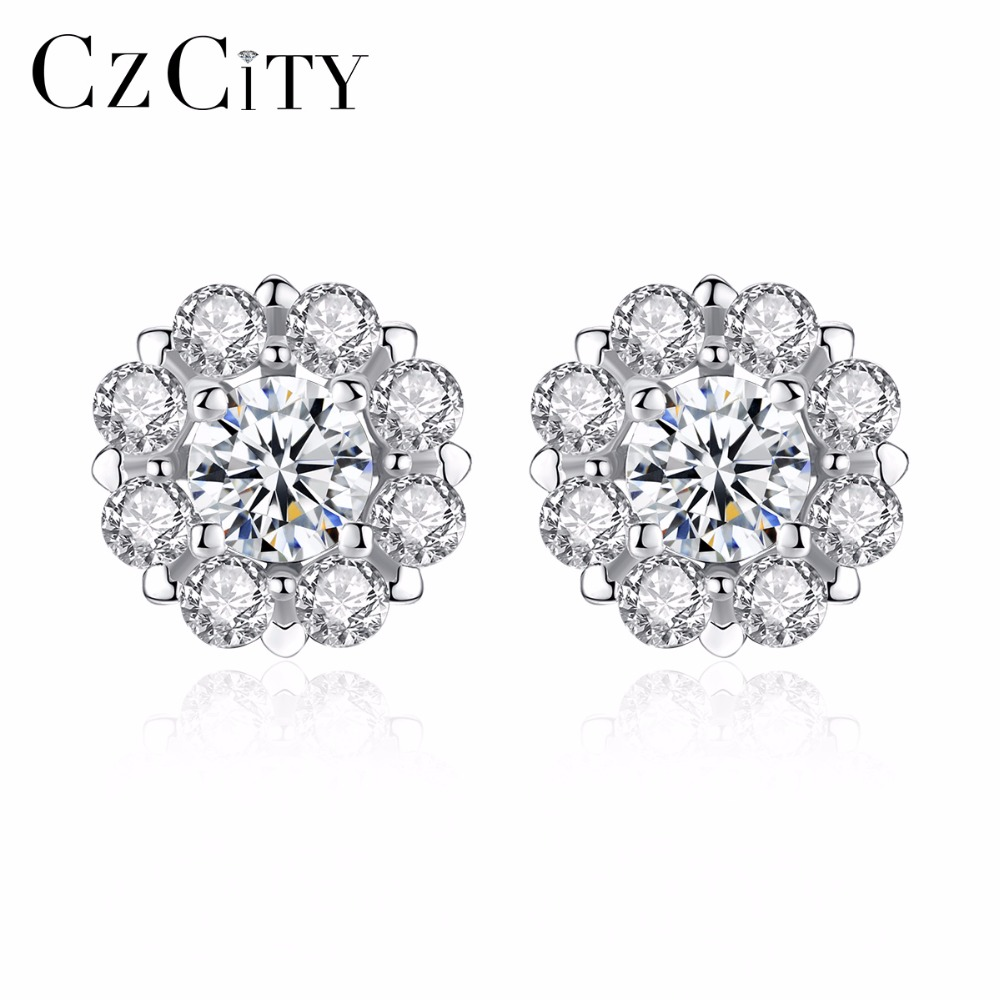 CZCITY Brand Elegant Petal Delicate Women 925 Sterling Silver Stud Earrings for Women Genuine Silver Jewelry Gift shending ld8008 a9 temperature sensor rgb light changing 15 led handheld shower head silver