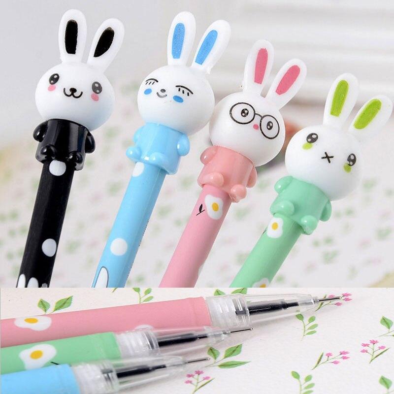 4Pcs/set Cartoon Rabbit Bunny Gel Pen 0.5 mm Black Ink Japanese Unisex Pen for School Office Kawaii Stationery Supplies Tool