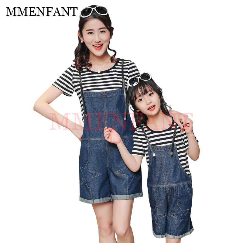 family matching clothes girls sets 2017 summer 2pc mother and daughter clothes short sleeve cotton Striped t-shirt+jeans shorts