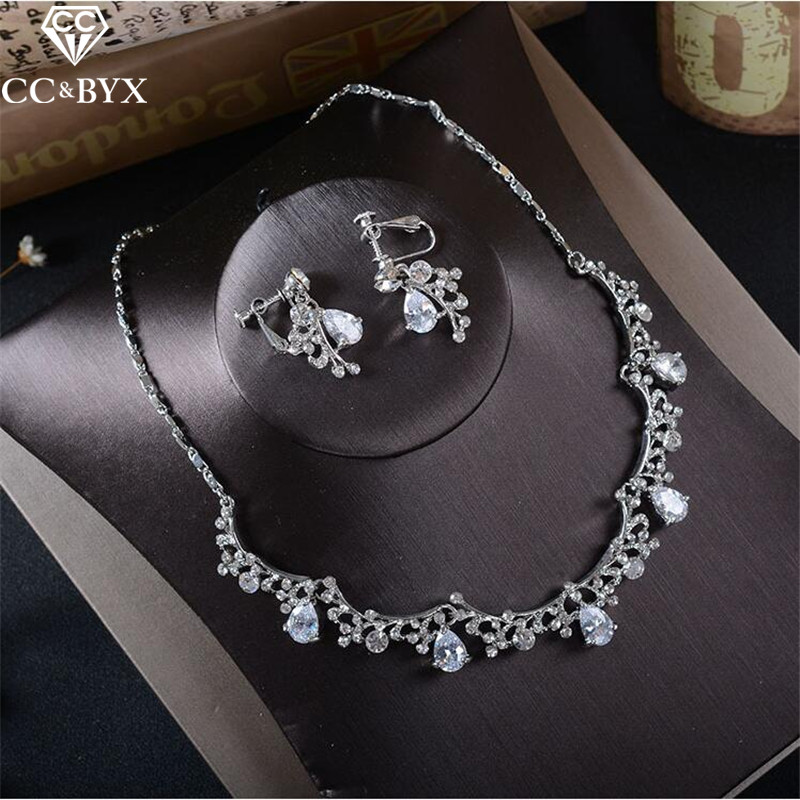 CC Jewelry necklace earring set for women necklace pendants female wedding party accessories cubic zircon crystal luxury TL213