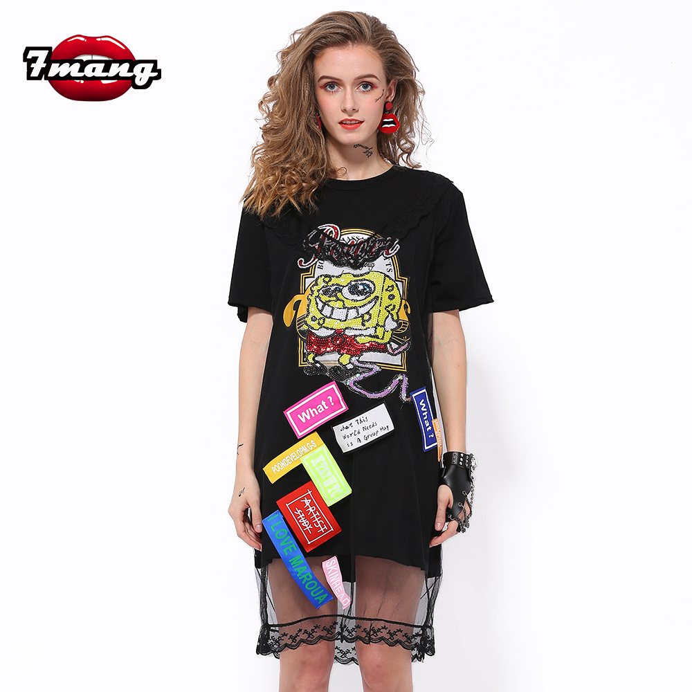 7ee53df16f 7Mang 2019 Summer Kwaii Cartoon Sequin Dress Black Short Sleeve Mesh Dress  Straight Party Club Loose Shirt Lace Dresses 0122