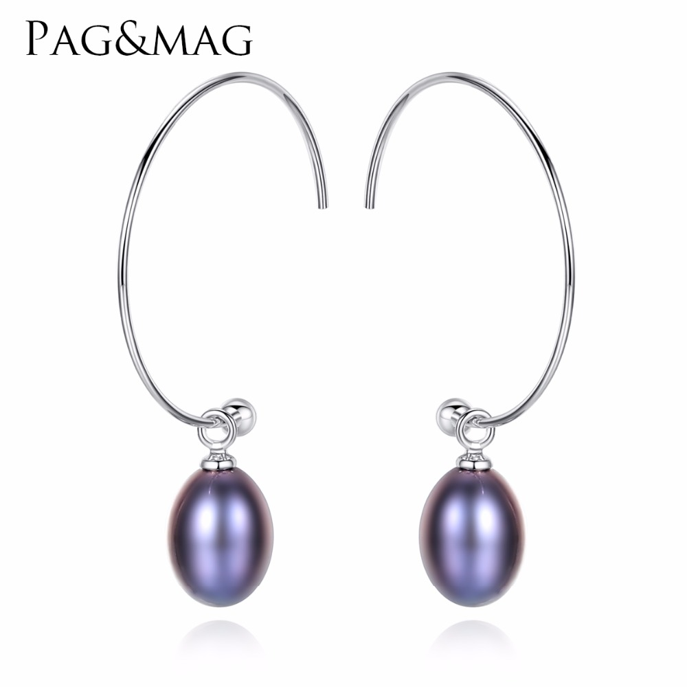 PAG&MAG New Fashion Big Half Circle Earwire 925 Sterling Silver Drop Earring For Women Fine Freshwater Pearl Paved Banquet Gifts