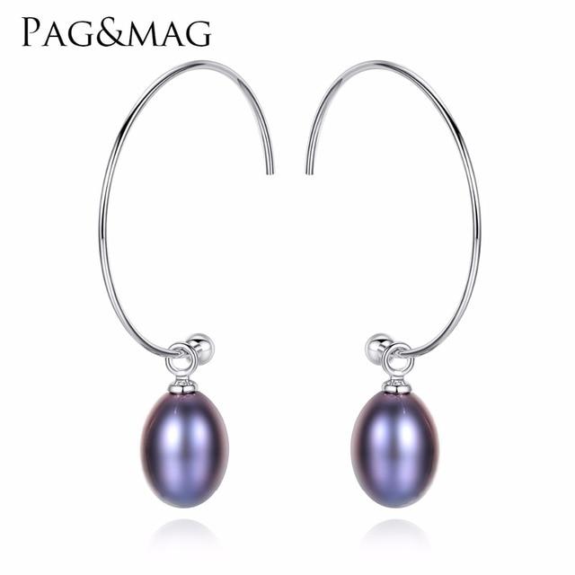 PAG & MAG Yeni Moda Büyük Yarım Daire Küpe 925 Gümüş Damla Küpe Için Kadınlar Güzel Tatlı Su Inci Kaplamalı ziyafet Hediyeler