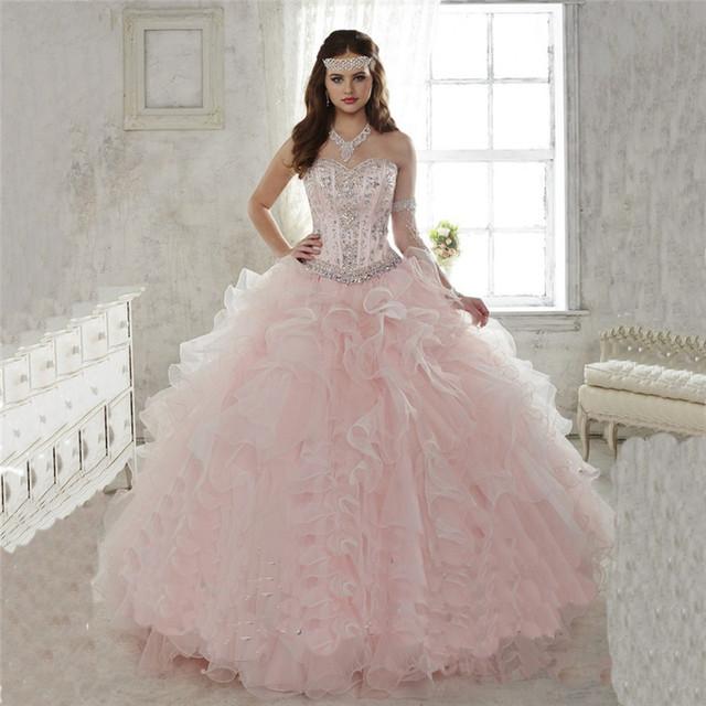 Removível saia De rosa De duas peças De luxo Beading Ruffles Quinceanera Vestidos Vestidos De 15 Anos