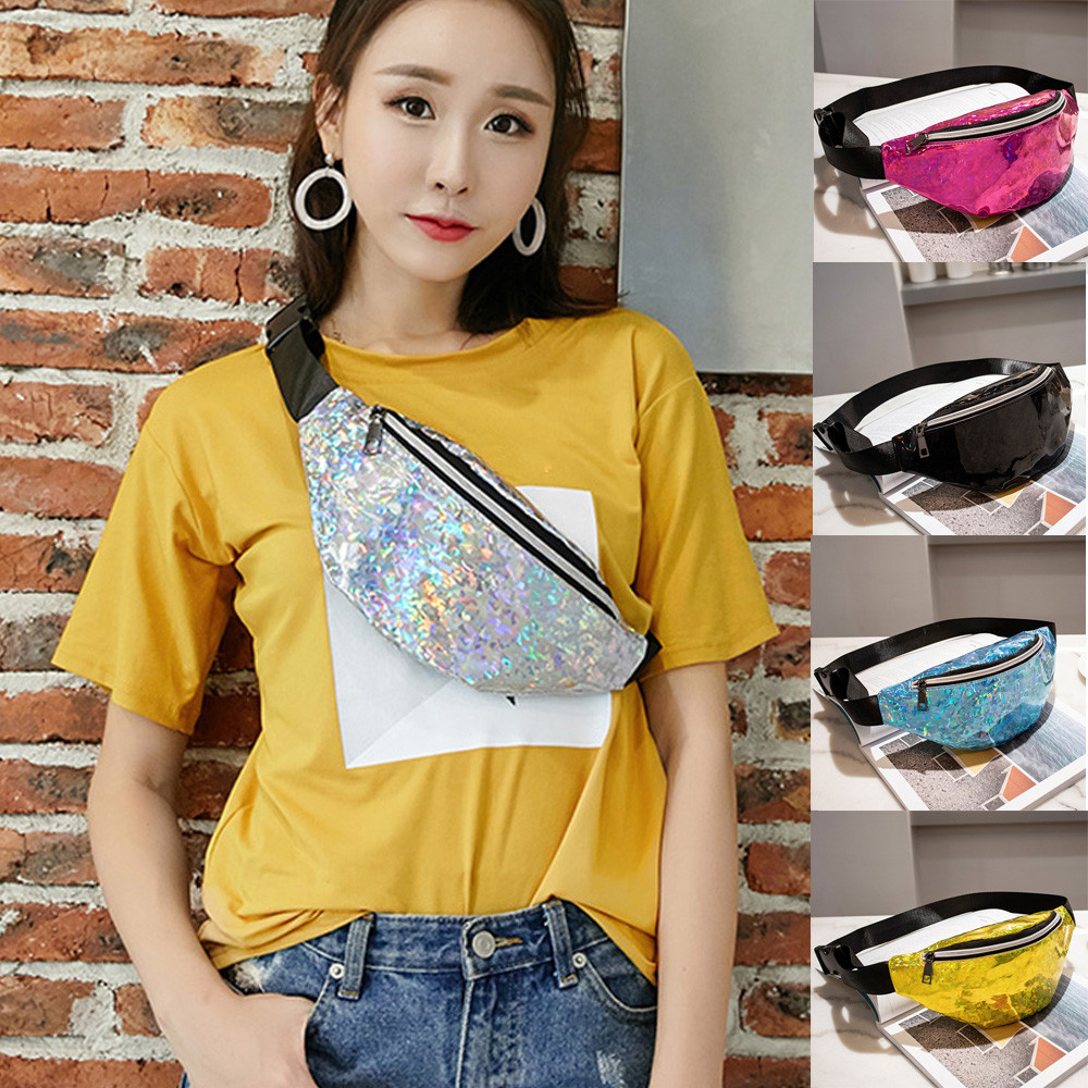 Women Fashion Messenger Bag Handkerchief Neutral Outdoor Sport Laser Beach Bag Messenger Crossbody Bag Chest Bag dropshipping(China)