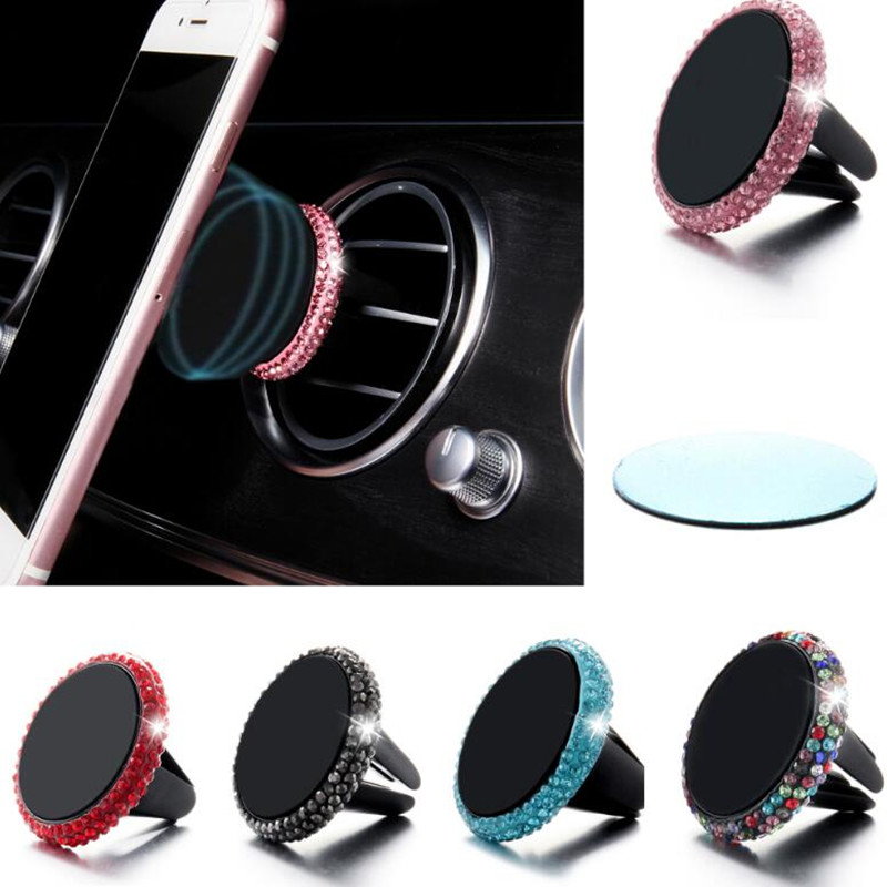 MR TEA Universal Rhinestone Magnetic Car Phone Holder Car Mount Stand Bling Crystal Air Vent Mount For IPhone & Android GPS