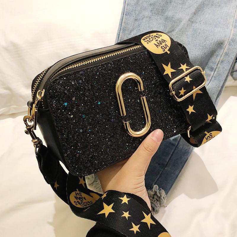 2019 Fashion New Ladies Sequin Square Bag High Quality PU Leather Women's Designer Luxury Handbag Black Shoulder Messenger Bag