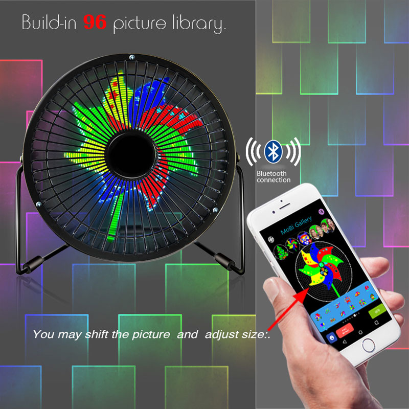 US $16 99 |Mini USB Bluetooth Full Color Digital Message Display Table Led  Fan iOS & Android Phone APP Fan-in Novelty Lighting from Lights & Lighting