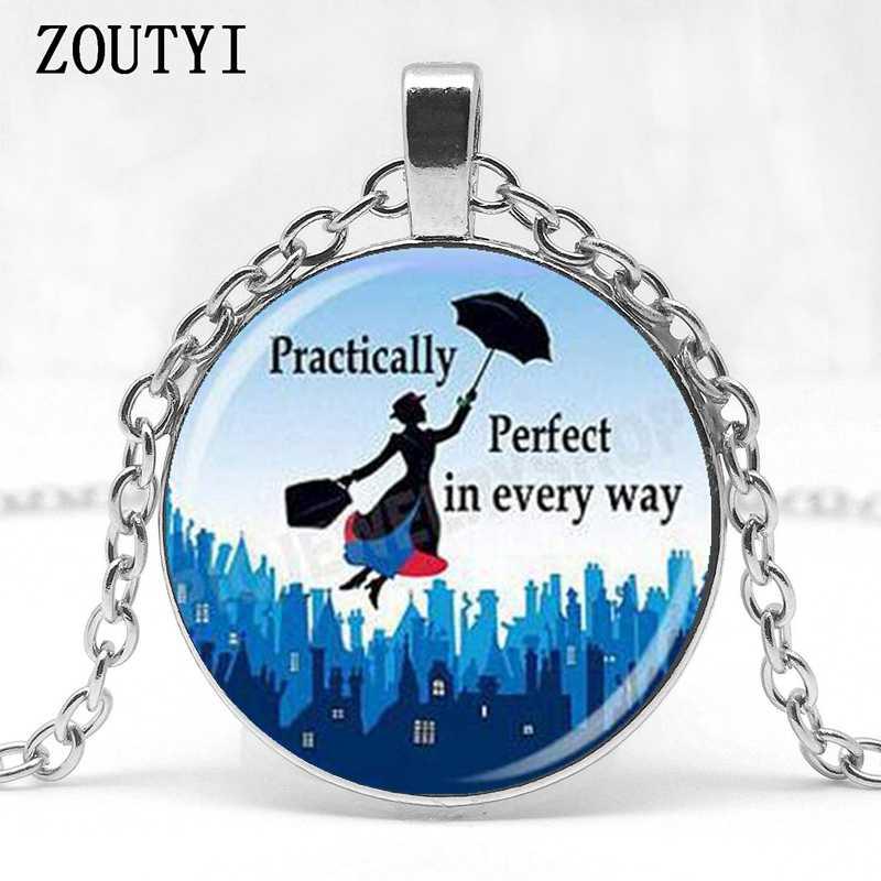 2018/Mary poppins tưởng tượng cô gái hình ảnh thủy tinh mặt dây chuyền vòng cổ làm đồ trang sức.