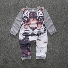 New Arrival Soft Newborn Kids Clothing Baby Boys Girls Cllothes Cartoon Tiger Printed Infant Cotton Romper Clothes Outfit Gifts
