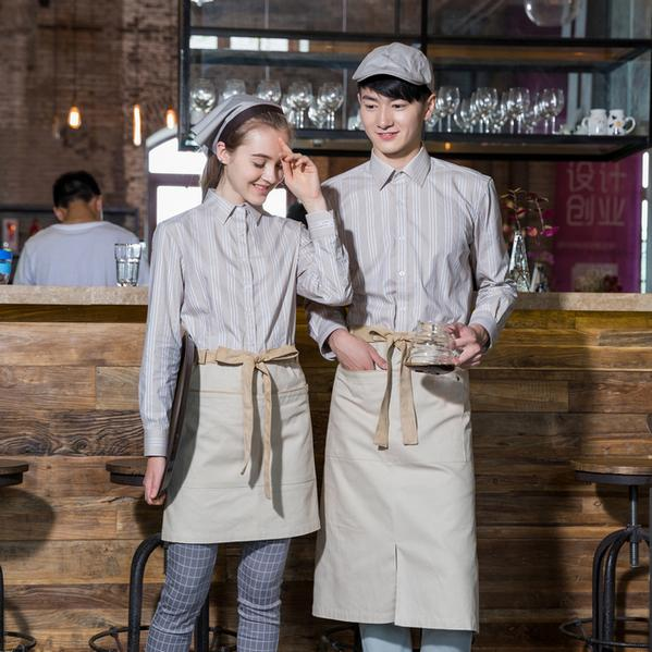 Fall Winter Overalls Long Sleeve Waiter Work Clothing Cafe
