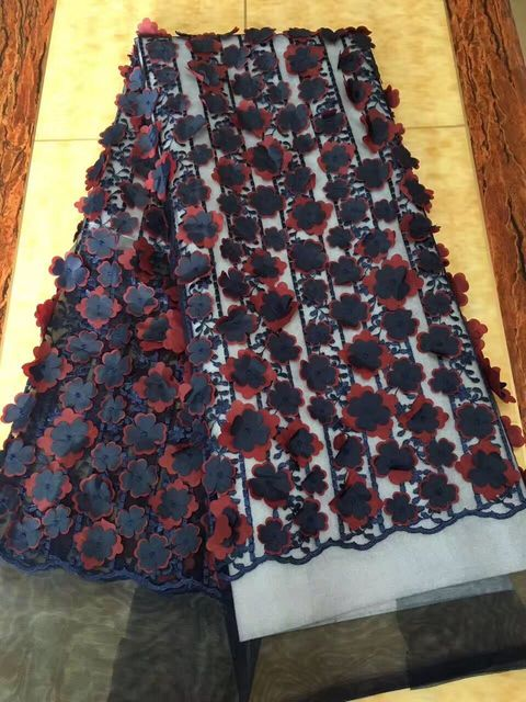 Nigerian Lace Fabrics For Wedding 2017 African Fabric High Quality 3 D Flowers Embroidery French