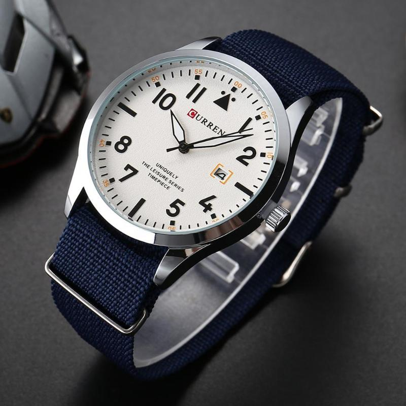 Casual Watch Men Date Analog Canvas Band Sports Waterproof Quartz Watch Luxury Male Clock Business Mens Wrist Watch mike 8825 men s business casual analog quartz wrist watch silvery white black