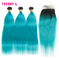 Ombre Bundles With Closure Straight 1B/Blue Peacock Two Tone Human Hair Non Remy Brazilian Straight Hair 3 Bundles With Closure